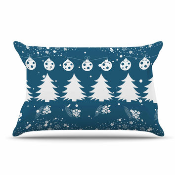 """Famenxt """"Merry Merry Christmas"""" Blue White Holiday Illustration Pillow Case"""