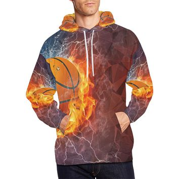 Basketball Fire Men's All Over Print Hoodie