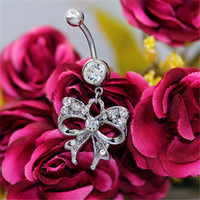 White  Rhinestone Bowknot Curved Barbells Navel Belly Button Ring Body Jewelry