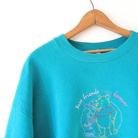 Vintage 90's WINNIE POOH & PIGLET Best Friends Until Forever Bff Embroidered Walt Disney Teal Sweatshirt Sz 2XL