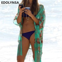 New Arrivals Beach Cover up Floral Swimwear Ladies Tassel Pareo Beach Cape Sun Bath Beach Wear Dress Chiffon Swimwear #Q5