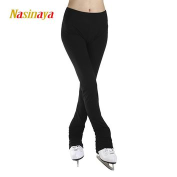 Customized Ice Skating long pants Costume Figure Skating Pants Warm Fleece Skater Fabric Child Adult Girl Full Black solid color
