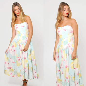 Vintage 80s STRAPLESS Sweetheart Dress PASTEL Floral Fit and Flare Drop Waist Dress
