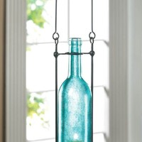 Carrington Hanging Blue Glass Bottle Candle Holder