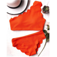 High waist scalloped one shoulder straps two piece bikini orange