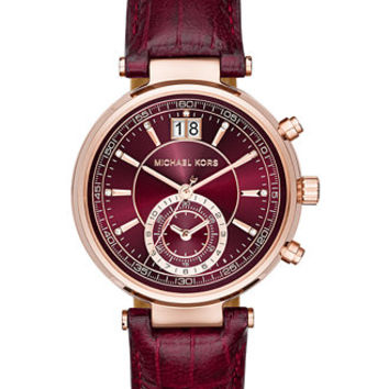 Michael Kors Women's Sawyer Burgundy Croc-Embossed Leather Strap Watch 39mm MK2426