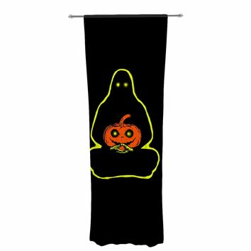 "Barmalisirtb ""Halloween Meditation"" Black White Illustration Decorative Sheer Curtain"