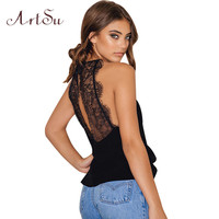 ArtSu Sexy Lace Chiffon Tank Top Backless Sleeveless Top Women Summer 2017 Camis Vest Black White ASVE20045