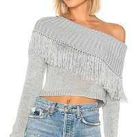 Lovers + Friends Capulet Fringe Sweater in Baby Blue | REVOLVE
