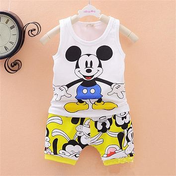 2019 Children Boys Girls Clothes Set Kid Cartoon Vest And Shorts Summer Style Baby Suits Toddler Clothing Cute Brand Tracksuits