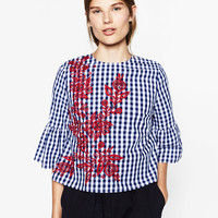 EMBROIDERED CHECKED TOP DETAILS