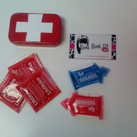 "First AIDS (prevention) Kit ""Bang, bang, wink, wink"" Metal compact case with 3 condoms, lube & mirror"