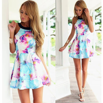 Women's Fashion Summer Sexy Elegant Sleeveless Backless Floral Print Pleated Party Mini A-Line Dress = 1945855876