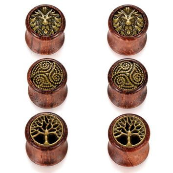 SHIPS FROM USA 12mm Lion Double Ear Tunnels Plugs Buddha Gauge Expanders Ear Stretcher Men Women Piercing Earring Body Jewelry