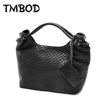 New 2017 Korean Style Designer Knitting Women PU Leather Handbags Vintage Woven Shoulder Bag High Quality for Female WZS008