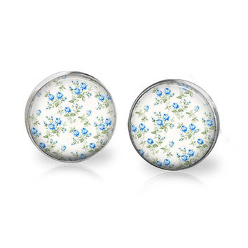 Tiny Floral Studs Tiny Blue Floral Pattern Earrings Light Blue Flower Printed Art Hippie Chic Boho Wedding Earrings Bridesmaid Earring Glass