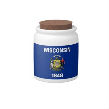 Wisconsin State Flag Candy Jar