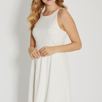 strappy back dress in off white textured fabric | maurices
