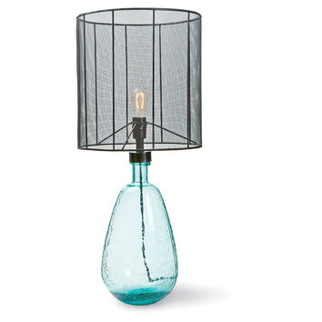 Elements Glass Table Lamp, Aqua, Table Lamps