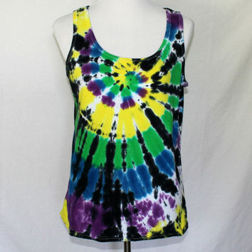 Tie Dye Tank Top, Womens Tie Dye Shirt,  Hand Dyed Vest, Tie Dyed A-Shirt, Tie Dye Workout Tank Top, Athletic Top