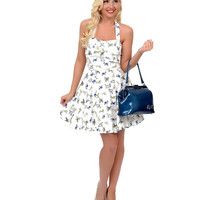 Ivory & Royal Blue Dog Print Fit N Flare Short Halter Dress