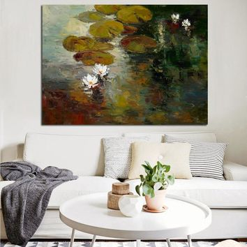 HD Print Canvas Wall Art Impression Claude Monet Lotus Pond Landscape Oil Painting Poster Wall Picture for Living Room Cuadros