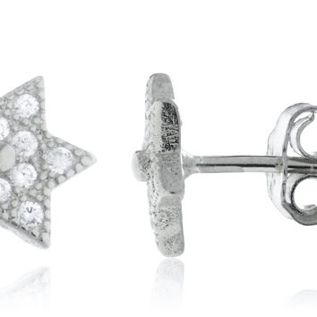 925 Sterling Silver Mini Star of David Stud Earrings with CZ Stones - Available in Goldtone and Silver