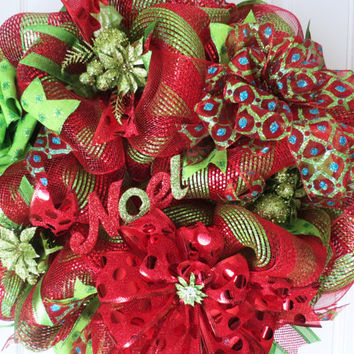 Red and Lime Green Holiday Geo Mesh Wreath, Christmas Wreaths, Holiday Wreaths, Geo Mesh Wreaths, Door Wreaths, Noel Wreath, Wreath