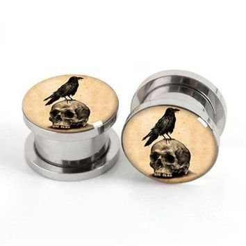ac DCCKO2Q Pair of Vintage Skull Birds plug gauges stainless steel screw fit ear plugs flesh tunnel ear expander SPP033