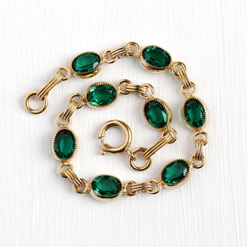 Vintage GF Bracelet - 12k Yellow Gold Filled Green Glass Stone Bracelet - Retro 1960s Oval Simulated Emerald Linked Panel Open Back Jewelry
