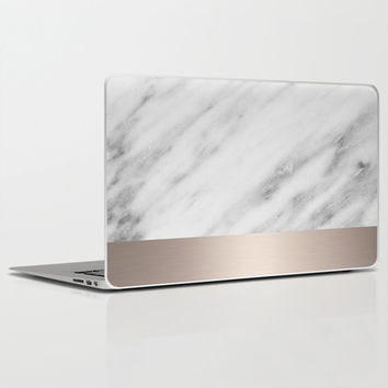Carrara Italian Marble Holiday White Gold Edition Laptop & iPad Skin by cafelab