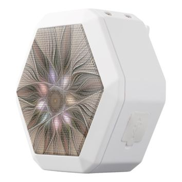 Joyful Flower Abstract Beige Brown Floral Fractal White Bluetooth Speaker
