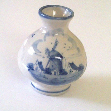 Ceramic Vase Miniature Blue Flowers and Windmills Zenith Pottery