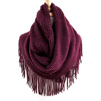Merlot Jacquard and Ribbed Mix Scarf