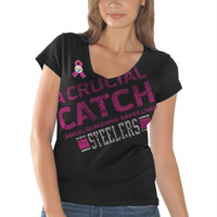Pittsburgh Steelers Ladies Breast Cancer Awareness Crucial Catch Fanfare T-Shirt - Black
