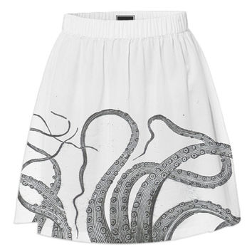 Octopus tentacles skirt vintage nautical kraken antique graphic sea monster emo goth gray black white summer gothic wedding short skirt