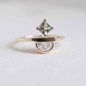 Half Moon Diamond + Princess Sunstone Engagement Ring | 14k Recycled Gold | One of a Kind