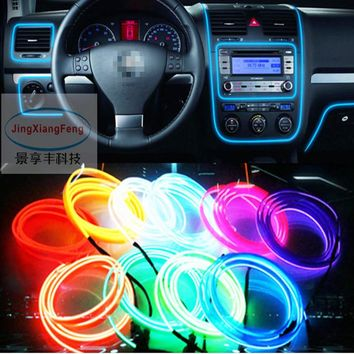 Universal 12V 10 Colors Flexible Neon Light Glow EL Wire Rope tape Cable Strip LED Neon Lights Car Decorative Strip Ribbon Lamps