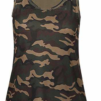 Women's Green Camo Scoop Neck Sleeveless Tank Top Tee Shirt