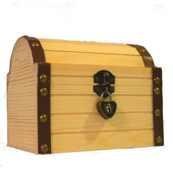 """Wooden Treasure Chest With A Working Heart Shaped Lock And Pair Of Keys For Kids, 6.24"""" X 5.19"""" X 5.14"""""""