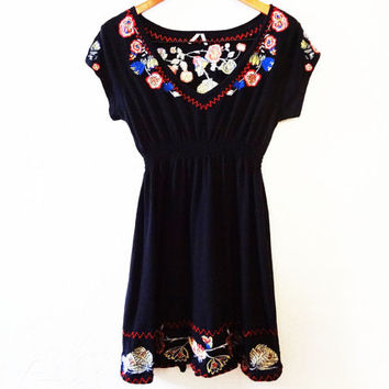Vintage 90s Embroidered Floral Grunge Dress - large -