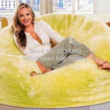 SHAGGY CUDDLEY FUR SOLID OVERSIZE BEANBAG LOUNGING SOFA
