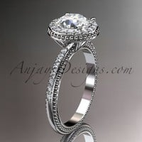 "14kt white gold diamond unique engagement ring, wedding ring with a ""Forever Brilliant"" Moissanite center stone ADER95"