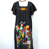 Vintage Mexican Dress Embroidered Applique Parrot Floral Black Cotton Hippie Dress