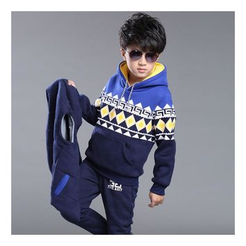 Korean and cashmere Hoodie sweater boy Adidas thickening three piece Blue