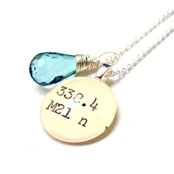 Faceted Teal Blue Acrylic Drop Dewey Decimal Vintage Card Catalog Sterling Silver Necklace