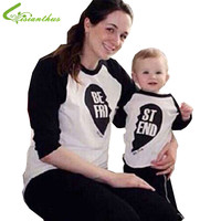 Family Fitted T-shirts Spring Autumn Family Matching Outfits Love Mother and Daughter Son Cotton Full Sleeve Best Friend Tees