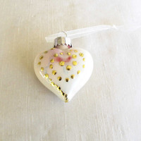 Glass Heart Ornament Painted Cream Green Gold Christmas Ornament Home Decoration