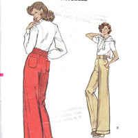 1970s Vogue 8629 Sewing Pattern High Waist Wide Leg Pants Bell Bottom Trousers Turn Cuff Hem Waist 28
