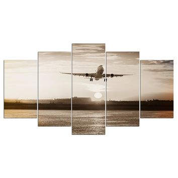 Jet Airplane Takeoff at Sunrise Retro Wall Art Canvas Wall Panel Print Picture